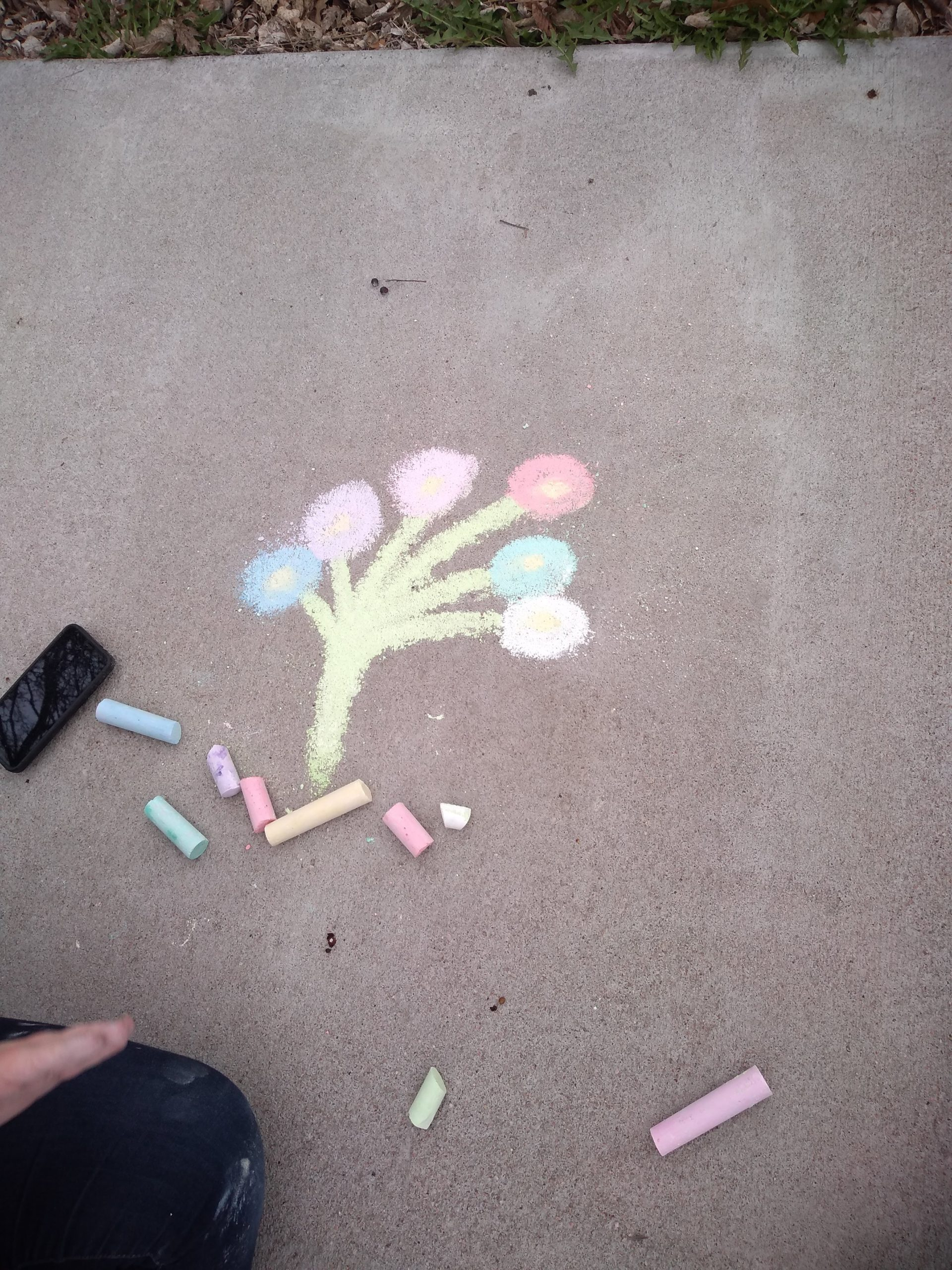 "pieces of chalk beside artwork of chalk ""tree"" ?"