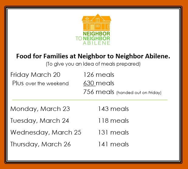 Info from Neighbor to Neighbor Abilene telling of the free meals they are handing out daily to kids and their families during the Covid 19 school closings.